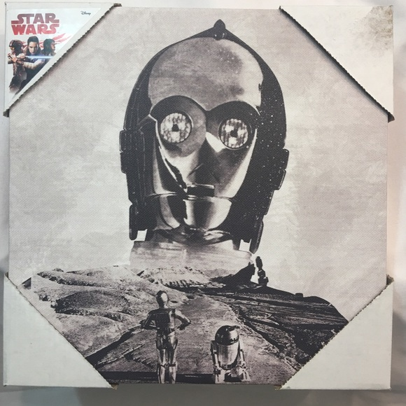 Star Wars C3PO Gray Canvas Wall Art Picture NWT